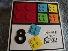 Lego Card by mitch1 - Cards and Paper Crafts at Splitcoaststampers1 1/4 and 3/4 square punch Son Birthday Cards, 8th Birthday, Baby Cards, Kids Cards, Cute Cards, Creative Cards, Foam Glue, Lego Store, Owl Punch