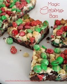 Magic Christmas Bars-Magic bars also known as Seven Layer bars all dressed up for the Holidays Do you ever wander around the grocery store with a list. Intent on only getting those items that are on your list and nothing extra? I always take a list when I go shopping. I have a different list...