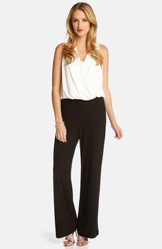 7f0c598bc2300d Karen Kane Black and White Contrast Drape Front Jumpsuit