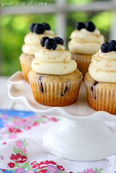 Cinnamon Blueberry Cupcakes with Cream Cheese Frosting - Your Cup of Cake