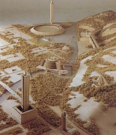 Detail of model architect George Ranalli with model makers Price Harrison and Fran Leadon created for travel exhibition 'Frank Lloyd Wright: The Living City' (Broadacre City), Vitra Design Museum, Berlin, July 14 – October 14, 2001