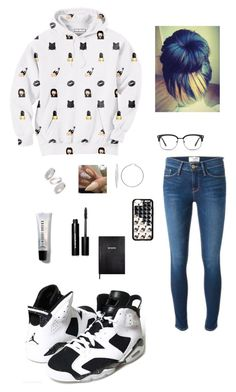 """""""Black Emojis 😍"""" by jay-christina ❤ liked on Polyvore featuring Aloha From Deer, Frame Denim, Retrò, Sterling Essentials, GlassesUSA, Topshop, Sloane Stationery and Bobbi Brown Cosmetics"""