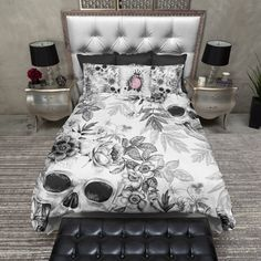 Lightweight Skull Bedding Black & White Print with by InkandRags