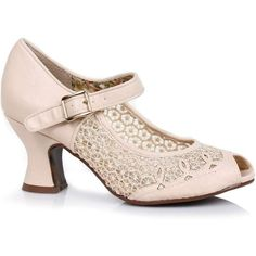 Nude Lace Peep Toe Paise Retro Mary Jane Heels Shoes ($52) ❤ liked on Polyvore featuring shoes, pumps, nude, lace pumps, peep toe shoes, mary-jane shoes, maryjane pumps and nude peep-toe pumps