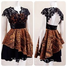 Batik with lace Dress Brokat Modern, Kebaya Modern Dress, Kebaya Dress, Tutorial Tutu, Simple Dresses, Elegant Dresses, Blouse Batik Modern, Rok Batik Modern, Dress Batik Kombinasi