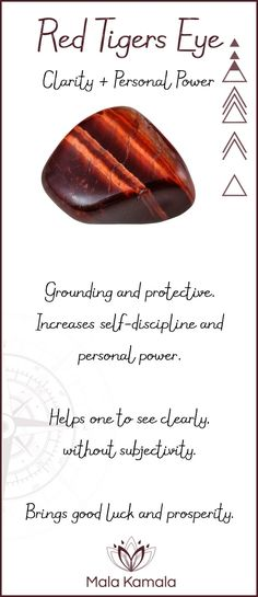 Pin To Save, Tap To Shop The Gem. What is the meaning and crystal and chakra healing properties of red tigers eye? A stone for clarity and personal power. Mala Kamala Mala Beads - Malas, Mala Beads, Mala Bracelets, Tiny Intentions, Baby Necklaces, Yoga Je