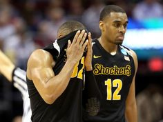 Wichita State's Tekele Cotton reacts as Notre Dame ends the Shockers' season.Thursday night in L.A. 3/26/2015