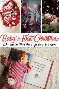 Creative and Cute Photo Ideas for Baby's First Christmas - Baby Love Babys 1st Christmas, Christmas Pictures For Babies, First Christmas Photos, Holiday Photos, Xmas Family Photo Ideas, Winter Baby Pictures, Baby Christmas Crafts, Christmas Traditions Kids, Christmas Eve Box