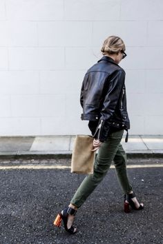 leather jacket + car