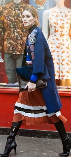 Olivia Palermo:Purse, sweater, and skirt – Topshop Coat – Peter Pilotto Shoes – Jimmy Choo