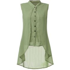 Women Sleeveless V Neck Button Pure Color Irregular Hem Chiffon Vest... ($14) ❤ liked on Polyvore featuring tops, blouses, shirts, green, long sleeve tops, sleeveless chiffon blouse, summer shirts, sleeveless button-down shirts and long sleeve shirts
