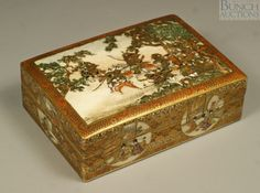 """Fine Meiji period Satsuma covered rectangular box, the lid with exquisitely detailed Samurai battle scene, the lid interior and the bottom interior with geisha and children in expansive landscapes, the outside with round reserves of geisha scenes, signed, pleasing craquleure, no damage, 4 5/8"""" w, 3 1/4"""" d, 1 1/2"""" h. See Lot 3004 ,The Absil Collection, sold Sept 12, 2012, in Montreal, CN"""