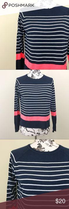 Zara Knit   Striped Sweater Striped navy and white Zara Knit sweater with big orange stripe towards of the bottom. Side slits. Size small. Zara Sweaters Crew & Scoop Necks