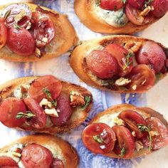 Blue Cheese Crostini with Balsamic-Roasted Grapes | MyRecipes.com