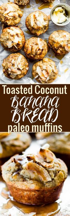 Toasted Coconut Paleo Banana Bread Muffins. Refined sugar free, soft, fluffy, and quick to make! http://www.cottercrunch.com