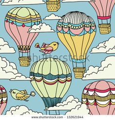 Cute seamless pattern with hot air balloons, birds and clouds
