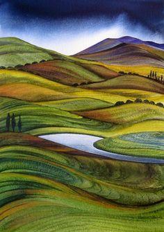 New Zealand ~ Rural Landscape ~ Raewyn Harris Landscape Art Quilts, Abstract Landscape Painting, Landscape Paintings, Landscape Tattoo, Nz Art, Art For Art Sake, Inspiration Artistique, New Zealand Art, Maori Art