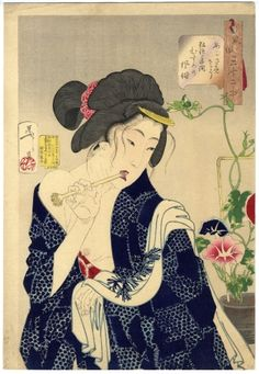 """JAPAN PRINT GALLERY: Looking Awake - Yoshitoshi Aspects of Women) - """"Looking as if she is waking up: the appearance of a maiden of the Koka era"""" Poster Prints, Art Prints, Japanese Painting, Japanese Prints, Japan Art, Vintage Wall Art, Up Girl, Gravure, Japanese Culture"""