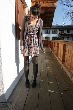 cardigan, floral dress, tights, booties