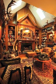 Turning Your Basement into the Ultimate Man Cave Can Be Fun - Man Cave Home Bar Ultimate Man Cave, Hunting Cabin, Hunting Trips, Man Office, Gun Rooms, British Colonial Style, Trophy Rooms, Man Cave Home Bar, Log Homes