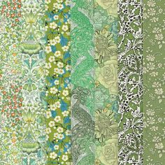 Liberty Fabric Tana Lawn Green 7 Fat Quarters Selection 469
