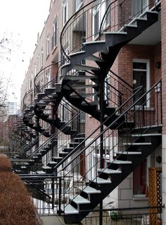Gorgeous spiral stairs in Montreal, Canada. Must visit one day! Montreal Architecture, Stairs Architecture, Amazing Architecture, Iron Staircase, Staircase Design, Spiral Staircases, Montreal Ville, Montreal Quebec, Stairs To Heaven