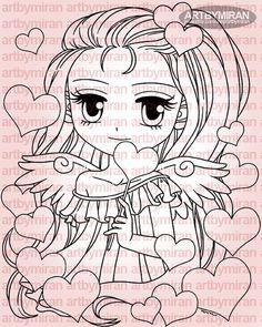 Sello digital Ángel de corazones 278 sello de Digi por artbymiran