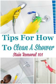 Here is a round up of tips for how to clean a shower, both to keep it looking good regularly, and also when it is in need of a deep cleaning {on Stain Removal 101} #CleanShower #CleaningShower #CleaningTips