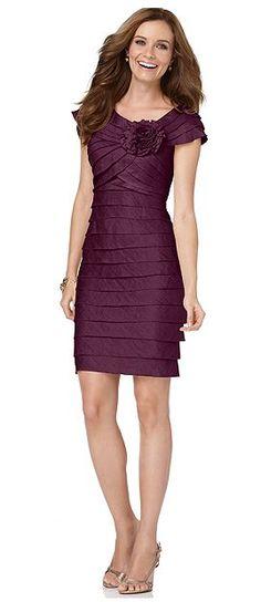 Macys: London Times Dress, Rosette Cocktail Dress - the one I got is a shimmery purple