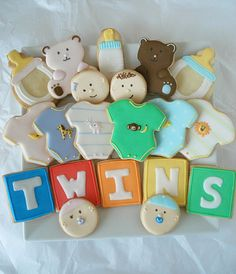 Twin Baby Shower Cookies #Twins