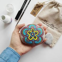 """Just living is not enough... one must have sunshine, freedom, and a little flower."" Hans Christian Andersen  #monettestones #mandala #flower #colorful #painting #artwork #drawing #hand #painted #stones #creativity #etsy #shop #art #pebbles #rock #paint #illustration #nature #crafts #monette #brush #colors #paradise #weekend #original #handmade"