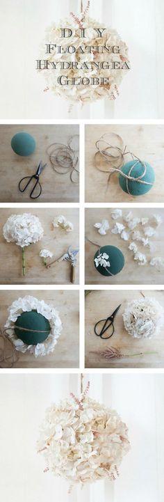diy globo hortênsia flutuante para decorações de casamento