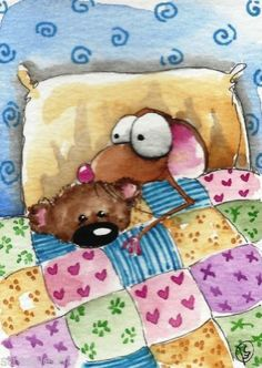 ACEO Original Watercolor Folk Art Whimsical Painting Mouse Teddy Bed Pillow Love | eBay