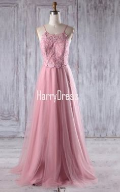 Pink A Line Scoop Neck Tulle Floor Length Appliques Lace Bridesmaid Dress