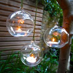 I've just found Set Of Three Hanging Tealight Bubbles. Sweet yet elegant fine handblown glass tealight holder bubbles for your home or garden. Alternatively fill with airpalnts to use as a terrarium.. £24.95