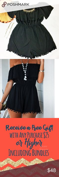 🆕❌⭕️🆕 | NWOT | Off-shoulder Ruffled Romper Absolutely adorable, this romper is a head turner. Has and off the shoulder neckline with POM PIMS lining the bottom of the leg. Made of 100%  polyester. If you have any questions or curiosities, please don't hesitate! I'm always willing to negotiate, so feel free to submit an offer!  ❌⭕️❌⭕️ Other