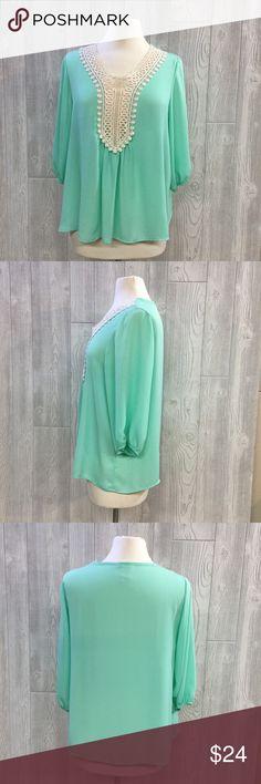 "NEW 3/4 Sleeve Blouse w/ Crochet Front Detail 3/4 Sleeve Blouse w/ Crochet Front Detail, Mint, Poly, From Shoulder to Bottom Hem Measures 25"", Semi Flowy, Loose Fit, Semi Sheer, New, Unworn Tops Blouses"