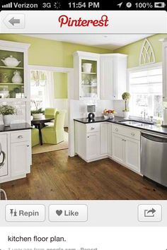 Cool Kitchen Floor Idea And Color Scheme Would Be Good For Flow Into Spare Room