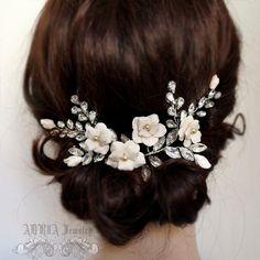 Flower Rhinestone Wedding Hair Vine, Bridal Hair Comb Hair Accessories , Romantic Pearls Leaves Floral Hair Comb Side Tiara by adriajewelry on Etsy