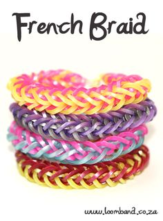 French Braid Loom Band Bracelet Tutorial, instructions and videos on hundreds of loom band designs. Shop online for all your looming supplies, delivery anywhere in SA. Rainbow Loom Tutorials, Rainbow Loom Patterns, Rainbow Loom Creations, Rainbow Loom Bands, Rainbow Loom Charms, Rainbow Loom Bracelets, Armband Tutorial, Loom Bands Tutorial, Bracelet Tutorial