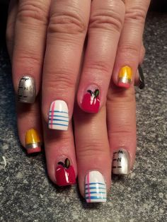 Back to school nail art School Nail Art, Back To School Nails, Heroes Disney, Teacher Nails, Girls Nail Designs, Nail Art For Kids, Funky Nail Art, Diva Nails, Girls Nails