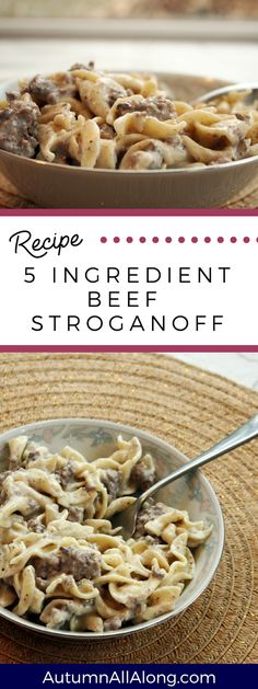 An easy to make 5 ingredient beef stroganoff recipe that keeps you from spending. - An easy to make 5 ingredient beef stroganoff recipe that keeps you from spending… An easy to ma - Top Recipes, Crockpot Recipes, Cooking Recipes, Recipies, Hamburger Recipes, Pasta Recipes, Recipes Dinner, Cooking Tips, Weekly Recipes