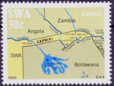 Sello: Map (África Suroccidental) (Caprivi Strip) Mi:NA-SW 577 Victoria Falls, West Africa, Postage Stamps, Father, Army, Maps, World, Stamps, Africa