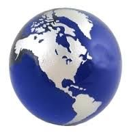 Cobalt Blue Globe with Silver Continents World Globes, Color Shades, Paper Weights, Cobalt Blue, Blue And Silver, Christmas Bulbs, Holiday Decor, Color Boards