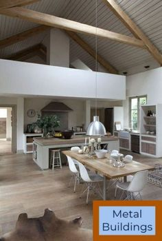 bright parquet floor and sloping ceiling in the Scandinavian kitchen More - Decoration For Home Metal Barn Homes, Metal Building Homes, Home Interior Design, Interior Architecture, Barn Kitchen, Barn Renovation, Barn House Plans, Loft House, Scandinavian Kitchen