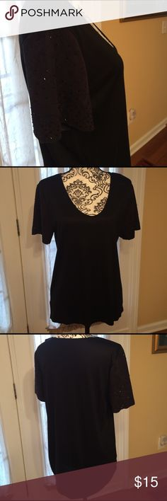 Ann Taylor black low cut top, with sparkle beads L Ann Taylor black low cut top, with decorative accent beads that sparkle on sleeves. Stretchy. Never worn Large Ann Taylor Tops