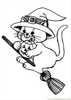 halloween witch coloring pages halloween cat witch on a broom coloring page