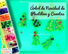 Árbol de Navidad de Plastilina y Cuentas Motor, Play, Fine Motor, Play Dough, Beads, Xmas, Manualidades, Firs, Noel