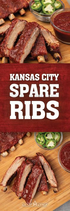 These Kansas City-style pork back ribs are a little spicy, a little sweet, and grilled to tender, juicy perfection. Barbecue Recipes, Grilling Recipes, Cooking Recipes, Vegetarian Grilling, Healthy Grilling, Barbecue Sauce, Rib Recipes, Sausage Recipes, Dinner Recipes