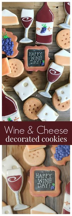 video tutorial and national wine day giveaway. Decorated cookies of cheese, cracker and wine